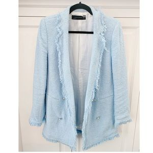Zara sky blue tweed blazer